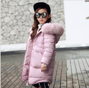 Fashion Children Winter Jacket Girl Winter Coat Kids Warm Thick Fur Collar Hooded long down Coats For Teenage on Sale