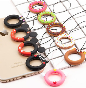 Wholesale New donut mobile phone lanyard men and women cartoon silicone ring short personality creative anti lost rope