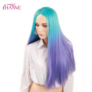 Wholesale HANNE Ombre Wig Blue to purple inch Heat Resistant Synthetic Hair Long Straight Wigs For Black Women s Party Or Cosplay