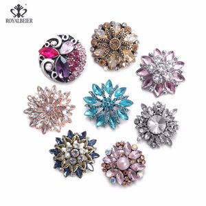 Wholesale ROYALBEIER Rhinestone For Handmade Flower Metal Button mm Snap Bracelet DIY Snaps Pendant Necklace Snap Jewelry RB0002b