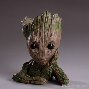 Wholesale Guardians of The Galaxy Pen container 15cm Baby Groot Figure Flowerpot Toy Flower Pen Pot Xmas Gift