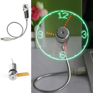 Wholesale Creative Adjustable Mini USB Fans With LED Time LED Clock Fan LED Light Display Cool Gadget With the Retail Box