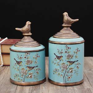 Wholesale American ceramic jar decoration model room wine cabinet hand painted storage tank storage tank European fashion home accessories