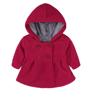 Baby Coat Toddler Girls Spring Winter Horn Button Hooded Coat Outerwear Jacket Children Girls Clothing on Sale