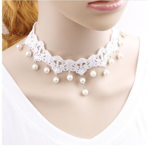 Wholesale 2019 pure fairy Gothic Pearl White Lace Necklace bridal gown necklace fake collar collar chain factory direct sale