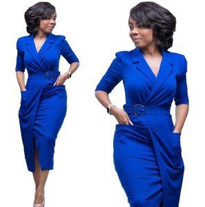 Business office dress elegant casual autumn skirt half sleeve every day basic dress viscose jersey midi dress