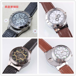 Wholesale Cigar USB Lighter Charging sports casual quartz Watches wristwatches Cigarette Smoking watch lighter styles Choose With Gift Box Tools