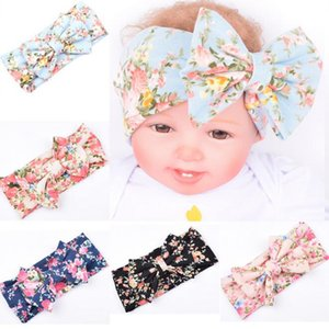 Wholesale Kids Newborn Baby Headbands Hairband Cotton Elastic New Bohemian Hair Accessories Head Wraps Girls Big Bow Belt Children Flower Printing