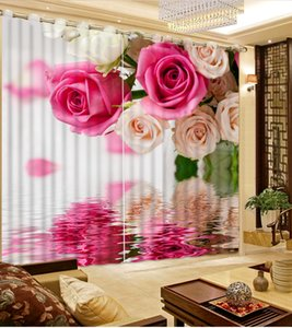 Wholesale window surfaces resale online - custom blackout curtains for living room Flowers water surface d curtains window curtains d stereoscopic home goods curtain