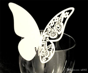 Wholesale Diy Butterfly Shape Place Cards Wedding Party Home Decor Inserting Card With Mix Color Hollow In Cup Eco Friendly dd jj