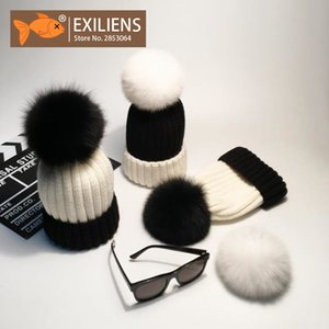 EXILIENS 100% Real Fox Fur Big Black White Pom Poms Winter Hat Knitted Wool Hats For Women Beanie Girl Thick Bonnet Female Cap D18110102