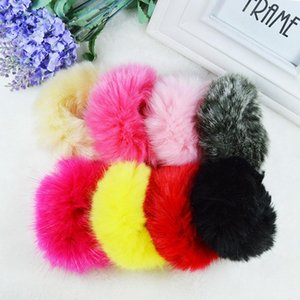 Wholesale Cute Trendy Warm Soft Women Girls Hairband Fake Rabbit Fur Elastic Hair Bands Girls Hair Accessories Rubber
