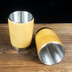 Wholesale Stainless Steel Water Cup Natural Bamboo Shell Hot Water Milk Coffee Tea Thermos Insulated Cup Travel Gifts QW8405