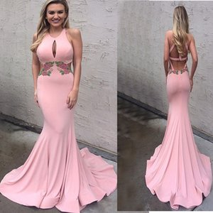 Wholesale Sexy Pink Mermaid Satin Evening Dresses 2018 Custom Made Halter Keyhole Neck Criss-Cross Back Trumpet Sweep Train Prom Party Gowns Formal