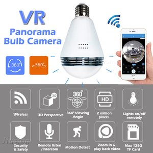 Wholesale WiFi IP Bulb Light Camera FishEye P degree Full View Mini CCTV Camera MP Night Vision Home Security Panoramic