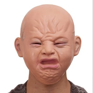 Realistic crying baby full head baby crying face mask practical joke headgear Halloween party