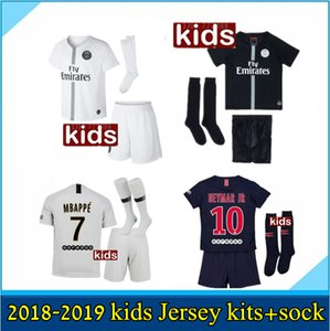 2019 Paris kids kits+sock MBAPPE soccer jersey 18 19 psg MBAPPE CAVANI MARQUINHOS LUCAS DI MARIA MATUIDI DANI ALVES Children football shirts on Sale