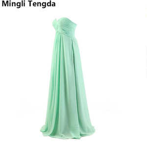 Wholesale new mint bridesmaid dresses for sale - Group buy 2018 New Long Mint Green Pink Bridesmaid Dresses Strapless Chiffon Dress robe demoiselle d honneur Elegant Wedding Party Dress Mingli Tengda