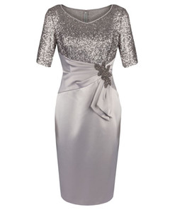 Half Sleeves V Neck Sequins Light Silver Gray Knee Length Mother of the Bride Dresses for Wedding Party Mother of the groom Dresses on Sale