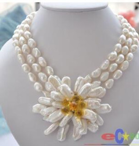 Free Shipping @@> wholesale 3row white baroque pearl handmade biwa stone flower necklace