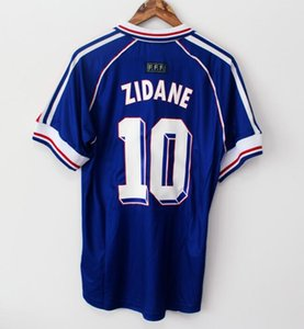 Wholesale 1998 FRANCE RETRO VINTAGE ZIDANE HENRY MAILLOT DE FOOT Thailand Quality soccer jerseys uniforms Football Jerseys shirt