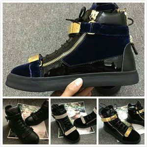 Wholesale Original box NEW Italian designer Brand High top patent leather sneakers in black Round toe Double zipper Mens womens casual Shoes