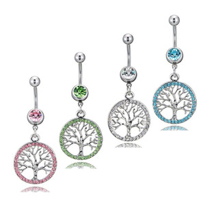 New Navel Piercing Tree of Life Charm Round Slide Charm Crystal Women For Belly Button Body Women Jewelry