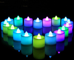 Wholesale 24pcs Electronic LED Candle Light for Wedding Birthday Decoration Smokeless Flameless Color Changing Flickering Candles for home DHL ship