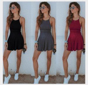 Fashion Summer Women Sexy Tight Dress Solid Color Strap Backless Beach Casual Ladies Girls Mini Short Dresses Plus Size