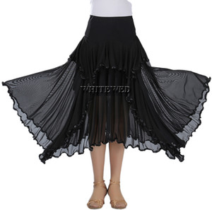 Ruffle Full Circle Circular Waltz Ballroom Practise Dance Skirt Long Two Tone Ballroom Flamenco National Dance Practice Wear Skirts Costumes