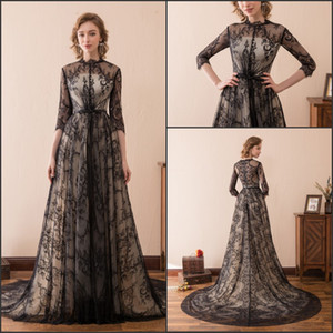 Sexy Black Lace Gothic Wedding Dresses Half Sleeve Sheer A-Line 2018 Newest Stock 2-16 Chapel Train Long Bridal Ball Gowns Formal