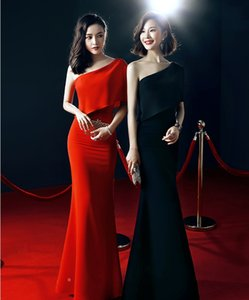 Wholesale Graceful Mermaid Party Dresses One Shoulder Long Prom Dresses Red Black Arabic Evening Gowns Engagement Dress Cheap