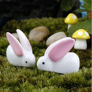 Wholesale Mini Rabbit Ornament Miniature Figurine Plant Pot Crafts Fairy Garden Bunny Decor Doll Home Decoration Toys ZA6052