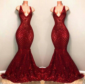 2018 Red Bling Bling Sequined Prom Party Dresses Sleeveless Mermaid Plunging V Neck Black Girl African Celebrity Dresses Evening Gowns