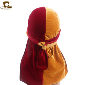 Luxury Velvet Unisex Stretchable worship Wish Bandanas Wide Straps Durag double color Splice Long Tail DuRAG headband
