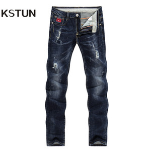 Wholesale KSTUN Jeans Men Spring and Autumn Ripped Distressed Straight Slim Painted Printed Stretch Biker Jeans Dark Blue Male Trousers S1012