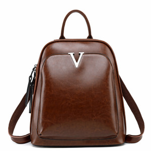 Vintage Designer Genuine Leather Women Backpack Oil Cow Leather Teenage Girls Casual School Bag Female Retro Travel Bag Bagpack