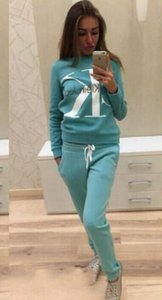 Wholesale Sporting Sweatshirt Letter Sports Suit Pullover Women Hoodie Set Tracksuit Casual Jogging Sweatshirt Pant Two Pieces