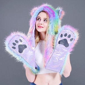 Wholesale Faux Fur Hood Animal Hat Ear Flaps Hand Pockets in1 Animal Hood Hat Warm Animal Cap With Scarf Gloves