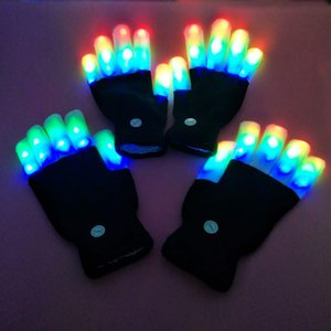 Wholesale LED Light Gloves Finger Light up knitted gloves for adults Colorful Flashing Glow Fingertip Glove for Show Party Club props Christmas