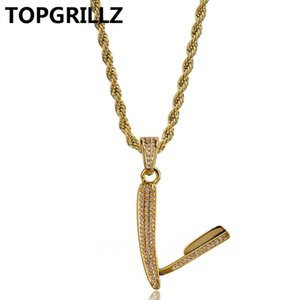 Wholesale TOPGRILLZ Gold Color Plated Micro Pave Cubic Zircon Razor Necklace Pendant Three Chains Inch Length Hip Hop Necklace Jewelry