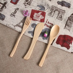 Wholesale Originality Wooden Dinnerware Natural Bamboo Tableware Gift Security Non Toxic Spoon Fork Knife Set Exquisite Anti Scald zl jj