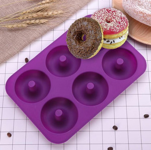 Wholesale 6 Cavity Non Stick Donut Mould Donut Muffin Cake Silicone Doughnut Bakeware Baking Mold Mould Pan EEA219