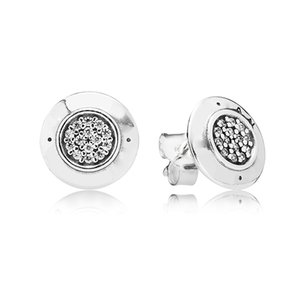Wholesale Real S925 Sterling Silver Stud Earrings Women Crystal Earring Fit Pandora Jewelry Earring with Original Box Gift for Girls