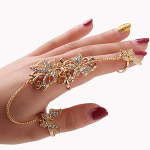 whole saleFashion New Rings 1PC Rhinestone Flower Butterfly Full Finger Ring Gold Chian Link Double ring Dropshipping Nov8