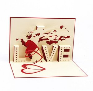 "Heart & Tree laser cut origami paper 3D Pop UP Cards With ""LOVE"" Greeting Cards post cards Valentine's Day gifts arts and crafts"