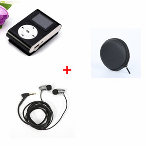 USB Mini Clip MP3 Player with LCD Screen Support Micro SD TF Card Radio Portable Music Player+wired earphone+ earphone case