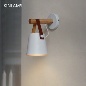Wholesale Wooden simple creative wall light led bedroom bedside decoration morden Nordic design living room corridor hotel E27 wall lamps