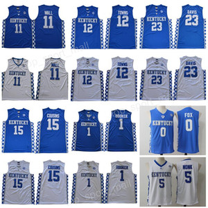 basquete kentucky venda por atacado-Cousins Kentucky Wildcats Jersey College Basketball Devin Booker John Wall Anthony Davis Karl Anthony Towns DeMarcus Malik Monk Fox azul Homens