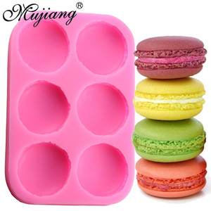 wholesale 6 Cavity Macaroon Hamburger Cake Silicone Molds Fondant Cake Decorating Tools Chocolate Candy Mold Fimo Clay Soap Moulds